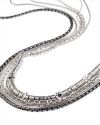 Jaeger - Metallic Multi Row Long Necklace - Lyst