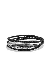 David Yurman | Black Frontier Feather Wrap Bracelet for Men | Lyst
