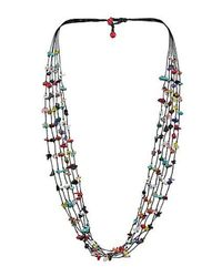 Aeravida | Blue Handmade 6 Strands Multi Stone Wax Rope Necklace | Lyst