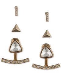 Nine West | Metallic Gold-tone Pavé Trio Jacket Earring Set | Lyst