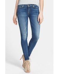 7 For All Mankind | Blue Faded Skinny Ankle Jeans | Lyst