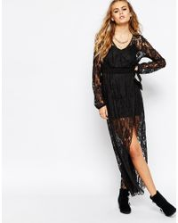 Band Of Gypsies | Black Lace Wrap Maxi Dress | Lyst