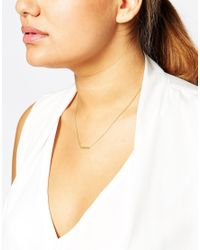 Asos Curve | Metallic Gold Plated Sterling Silver Asymmetrical Fine Bar Necklace | Lyst