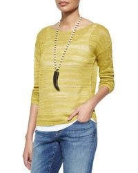 Eileen Fisher - Green Long-sleeve Organic Linen Slub Top - Lyst