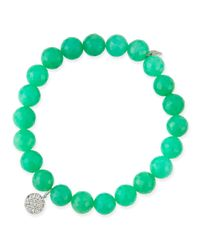 Sydney Evan | Blue 8Mm Chrysoprase Beaded Bracelet With Diamond Disc Charm | Lyst