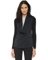 VINCE | Rib Sleeve Drape Front Jacket - Black | Lyst