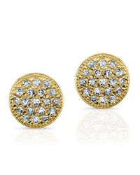 Anne Sisteron | 14kt Yellow Gold Diamond Mini Disc Stud Earrings | Lyst