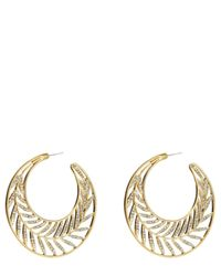 Juicy Couture | Metallic Pave Palm Hoop Earring | Lyst