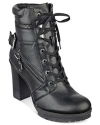 G by Guess | Black Gogi Lace-up Booties | Lyst