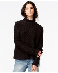 RACHEL Rachel Roy Black Printed Mock-turtleneck Sweater