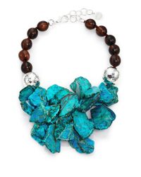Nest | Blue Turquoise Jasper & Ebony Wood Cluster Beaded Statement Necklace | Lyst