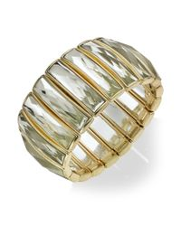 INC International Concepts | Metallic Gold-tone Crystal Baguette Stretch Bracelet | Lyst