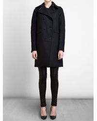 Givenchy - Black Double Breasted Overcoat - Lyst