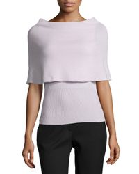 Halston - Purple Poncho Sweater W/ Ribbed Hem - Lyst