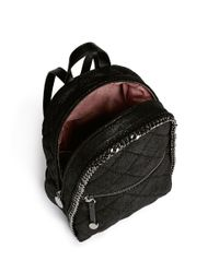 Stella McCartney Black 'falabella' Mini Quilted Shaggy Deer Chain Backpack