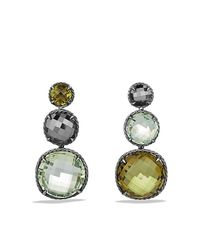 David Yurman | Green Chatelaine Triple Drop Earrings With Olive Quartz, Prasiolite And Hematine | Lyst