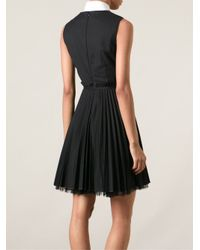 RED Valentino - Black Pleated Dress - Lyst