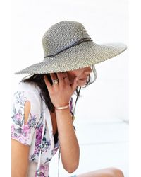 Urban Outfitters - Brown Corded Widebrim Straw Hat - Lyst