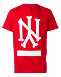Ejxiii Red Ny Printed T-shirt for men