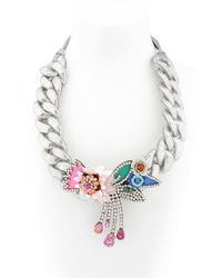 Shourouk Metallic Flower Chain Silver Necklace