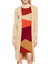 Vince Camuto - Natural Ribbed Long Sleeved Duster - Lyst
