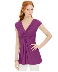 Miraclesuit | Purple Shaping Cap-sleeve Draped Top | Lyst