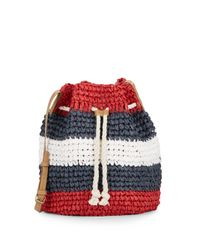 Saks Fifth Avenue | Red Striped Straw Bucket Bag | Lyst