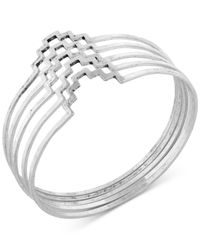 Lucky Brand - Metallic Silver-tone Geometric Bangle Set - Lyst