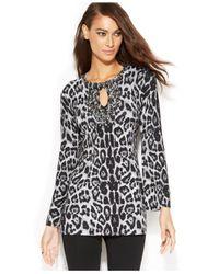 INC International Concepts Black Embellished Keyhole Animal-Print Tunic Sweater