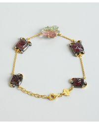 Amrapali - Metallic Gold Diamond and Tourmaline Floral Bracelet - Lyst