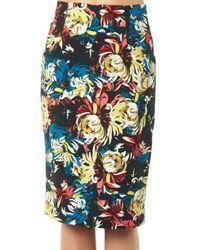 Erdem | Natural Frida Trinity Blossom-print Pencil Skirt | Lyst
