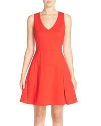 Adelyn Rae | Red Cotton Blend Fit & Flare Dress | Lyst