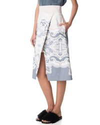 Tibi - Gray Floral Tapestry Print Wrap Skirt - Lyst