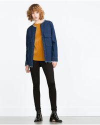 Zara | Orange Top With Pleat Detail | Lyst
