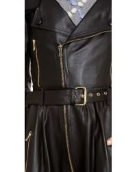RED Valentino | Black Long Leather Coat | Lyst