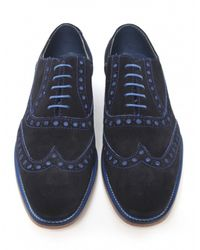 Jules B - Blue Suede Oxford Brogues for Men - Lyst