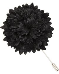 Lanvin Black Devoré Jacquard Carnation Pin