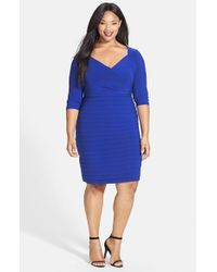 Adrianna Papell Blue Shutter Pleat V-neck Sheath Dress