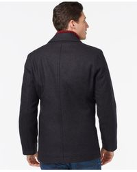 Tommy Hilfiger   Gray Double-breasted Peacoat for Men   Lyst