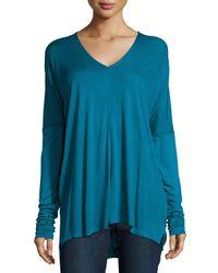 VINCE | Blue Long-sleeve V-neck Top | Lyst