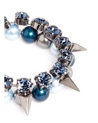 Joomi Lim | Blue 'vicious Love' Crystal Pearl Spike Bracelet | Lyst