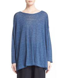 Eskandar | Blue Linen Boatneck Top | Lyst