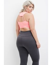 Forever 21 | Pink Plus Size Laddered-cutout Sports Bra | Lyst
