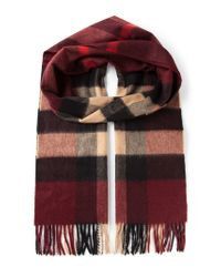 Burberry - Red 'House Check' Fringed Scarf for Men - Lyst