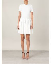 Alexander McQueen - White Pleated Mini Dress - Lyst