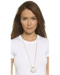 kate spade new york - Shore Thing Clam Pendant Necklace - White/clear - Lyst