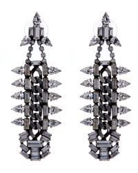 DANNIJO | Metallic Silver Gavin Swarovski Chain Drop Earrings | Lyst