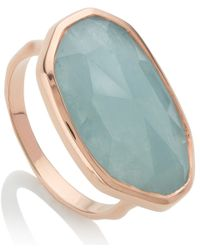 Monica Vinader Blue Gold Vermeil Aquamarine Capri Ring