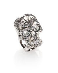 Alexander McQueen - Metallic Poppy Skull Ring - Lyst