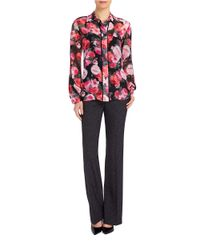 Ellen Tracy Red Floral-print Georgette Blouse